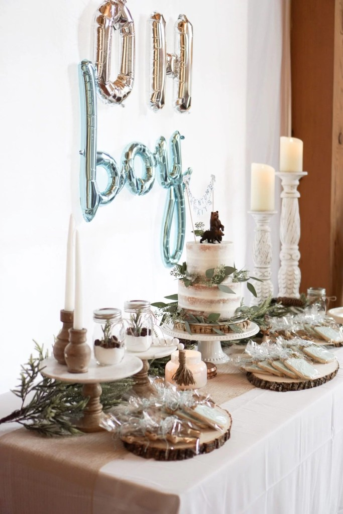 pregnant, maternity photos, baby boy, baby shower, boy shower, baby bear shower theme, woodland shower theme, naked cake, pinecone decor, winter baby shower