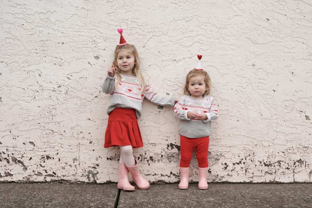 valentines day-toddler fashion-DIY-party hats-etsy-holiday-valentines cookies-DIY valentines-pajamas-baby pajamas-siblings