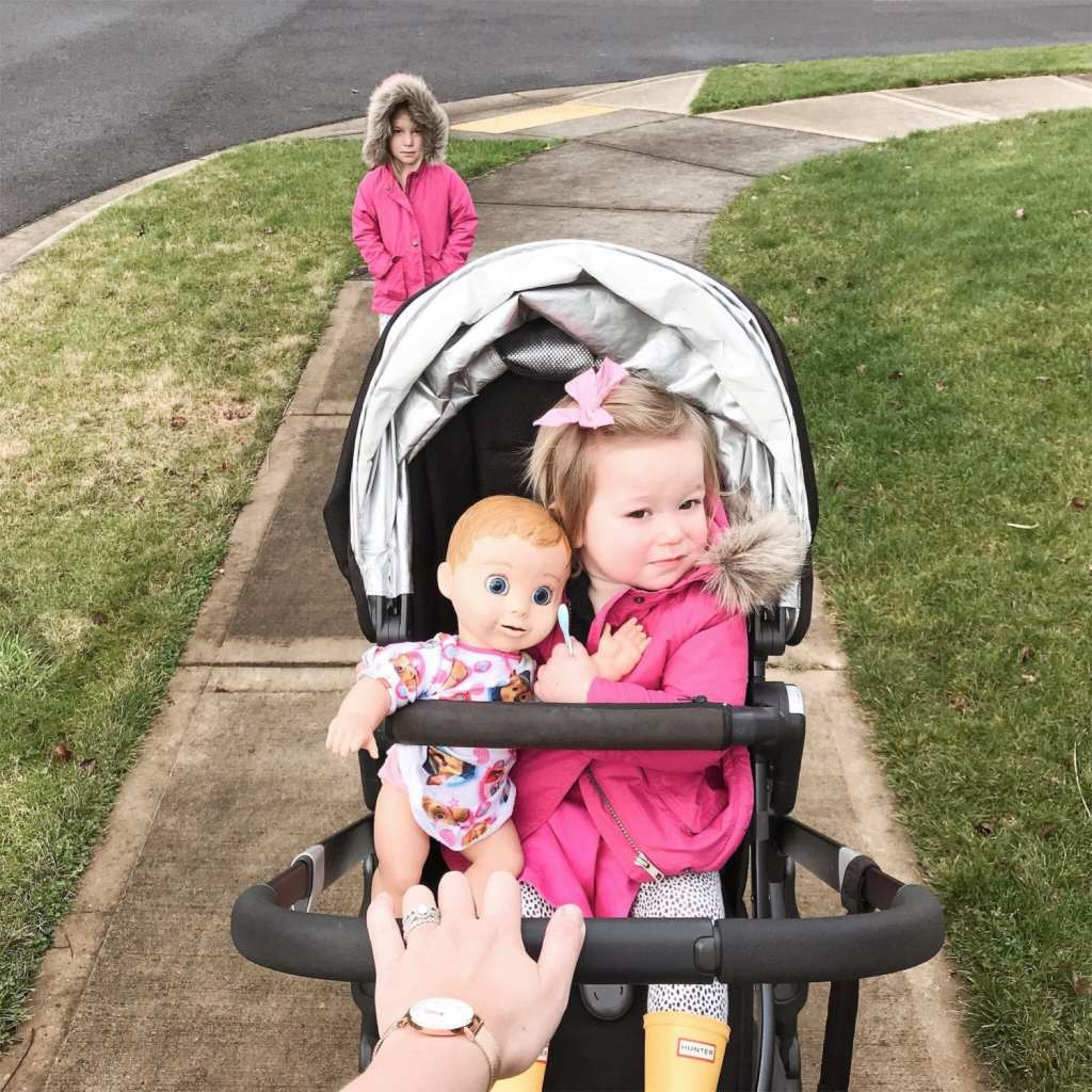 uppa baby vista-walk with two toddlers-luvabella doll-daniel wellington watch