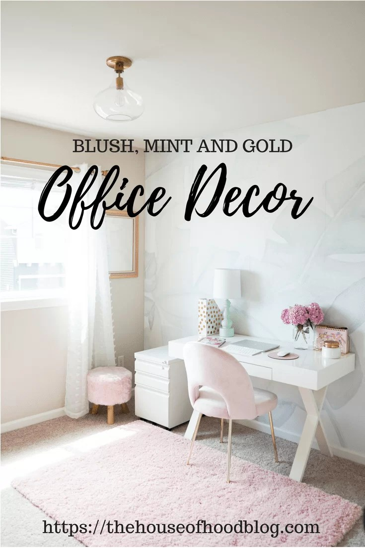 Blush, Mint And Gold Office Decor