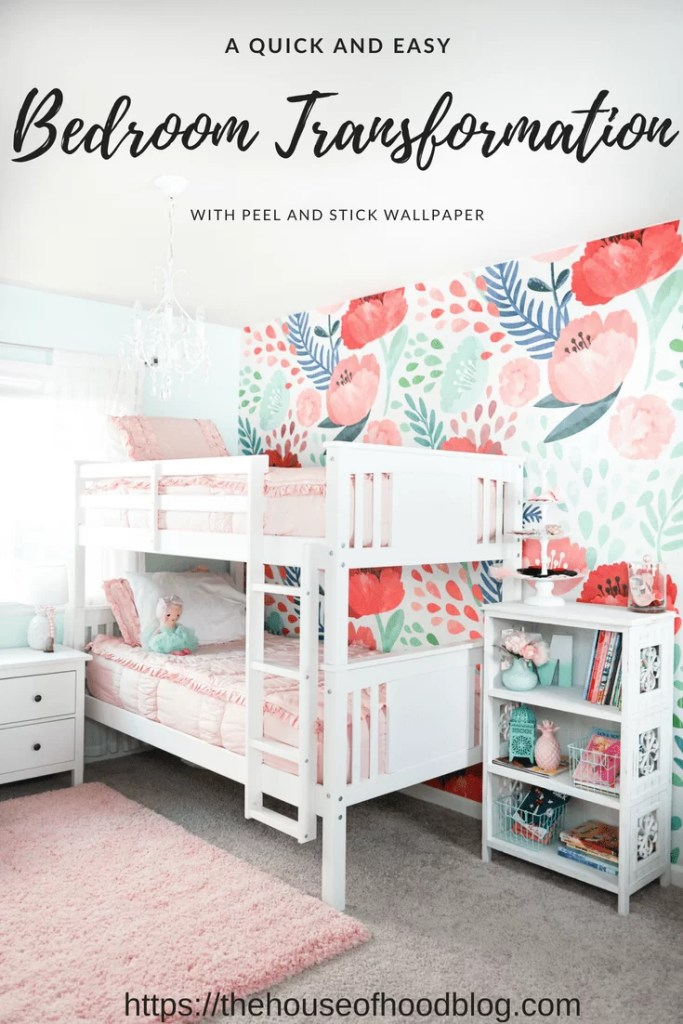 Updating Our Big Girls\' Bedroom with Wallpaper - The House of Hood Blog