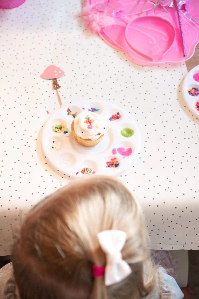 fairy themed birthday party, diy cupcake decorating, children's birthday party, party ideas for kids
