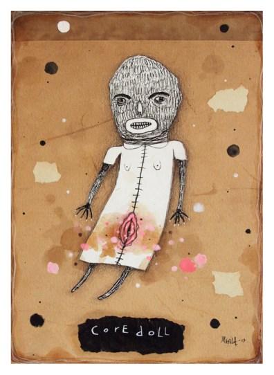 """Core Doll"" by Mia Makila, 2017 [mixed media on antique cardboard]"