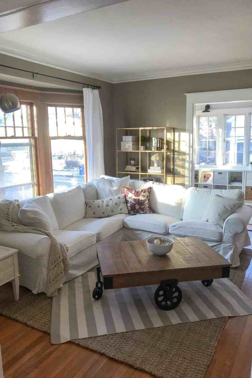 Before & After Living Room Renovation featured by top Michigan lifestyle blog, House of Navy