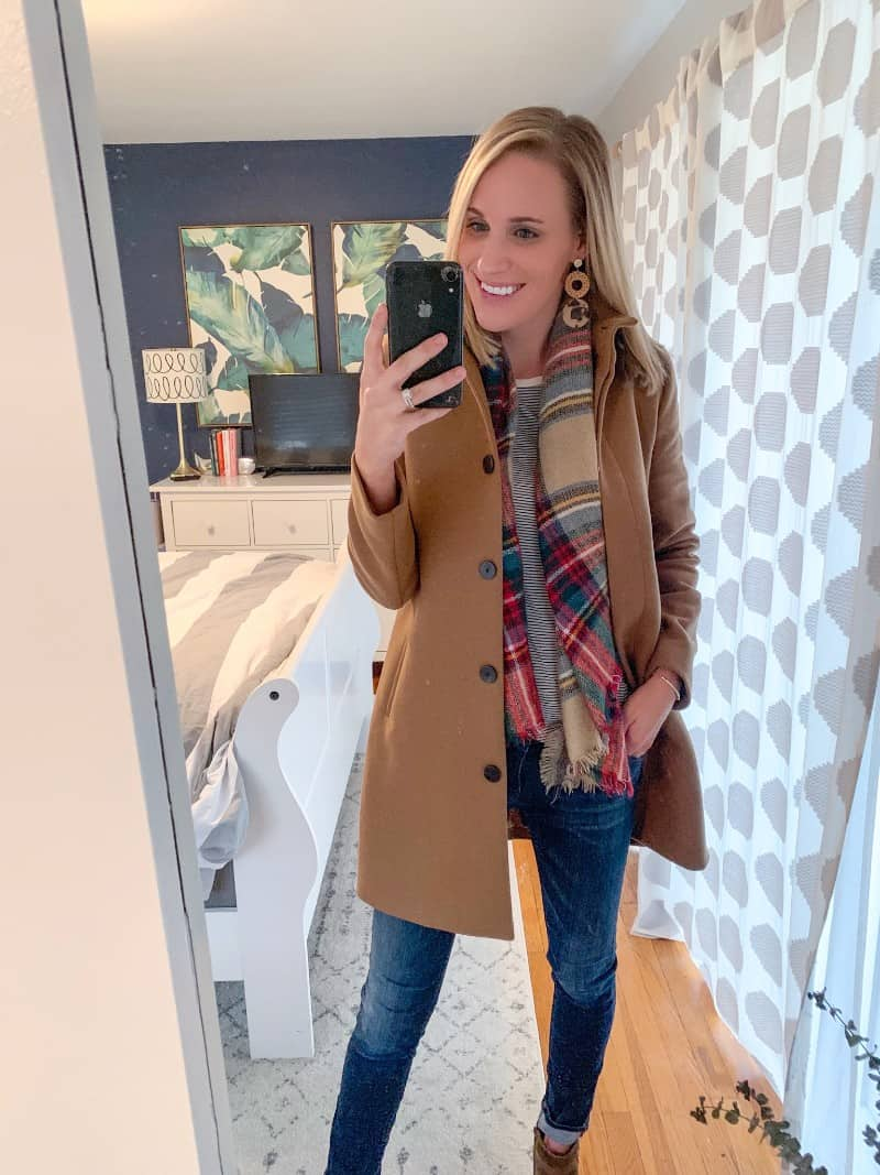 fashion blogger wearing camel coat and plaid scarf