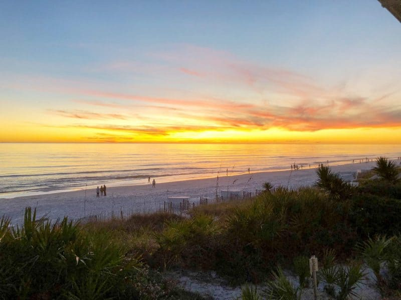 The Ultimate 30A Travel Guide for Families featured by top US travel blog, House of Navy: image of Florida sunset in December