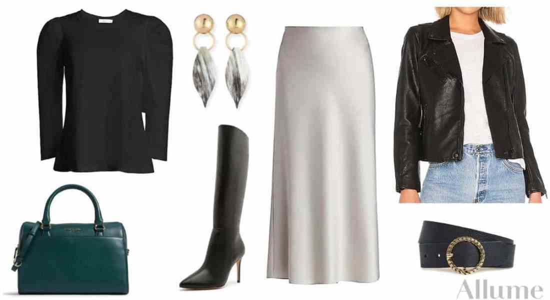 collage of women's sleek outfit