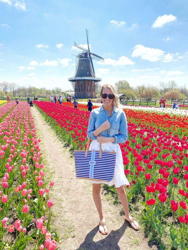 woman in a tulip garden
