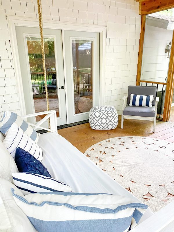 9 Stunning Coastal Paint Colors For Your Home featured by top MI lifestyle blogger, House of Navy: covered patio decor