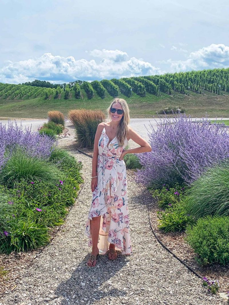 woman in vineyard and lavender field | Living in Michigan by popular Michigan lifestyle blog, The House of Navy: image of a woman outside at Brys Estate in Traverse, MI.