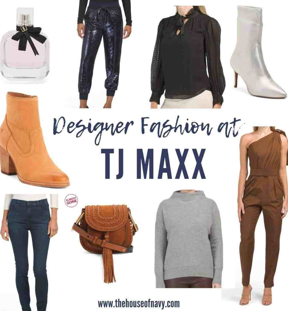 collage of designer fashion at tj maxx