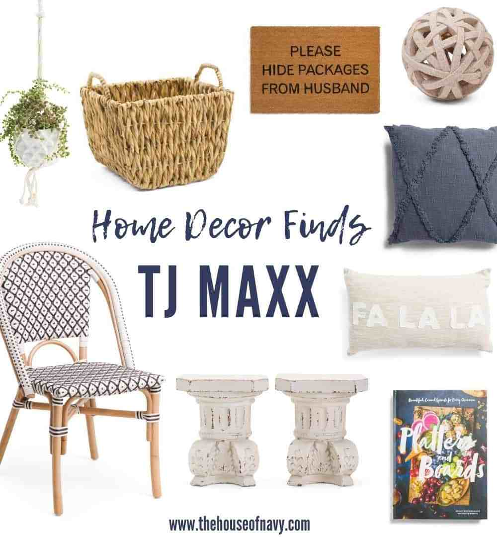 TJ Maxx fall home decor favorites featured by top Midwest lifestyle blogger, House of Navy: collage of home decor at tj maxx