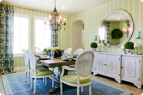 cobalt blue and kelly green dining room decor - colorful dining room