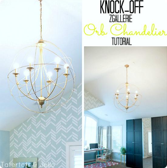 DIY Orb chandelier tutorial - Zgallerie light knock off - Tatertots and Jello