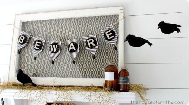 BEWARE halloween banner - Halloween shelf Decor 2013 - thehouseofsmiths.com