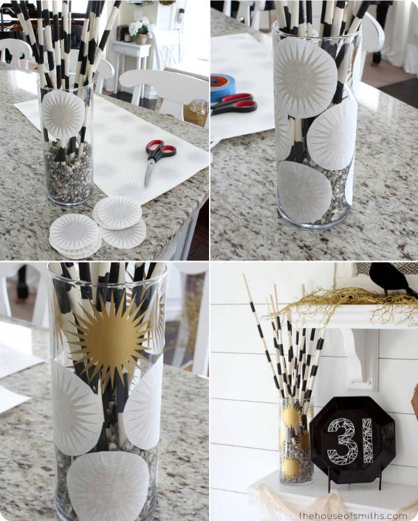 Gold Burst Decal Vase for Halloween - thehouseofsmithsdesigns.com