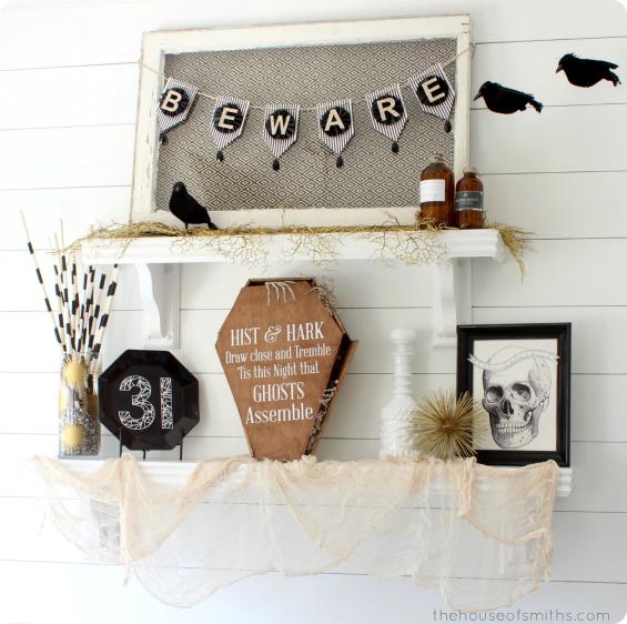 Halloween shelf decorations - gold, back and white halloween decor - thehouseofsmiths.com