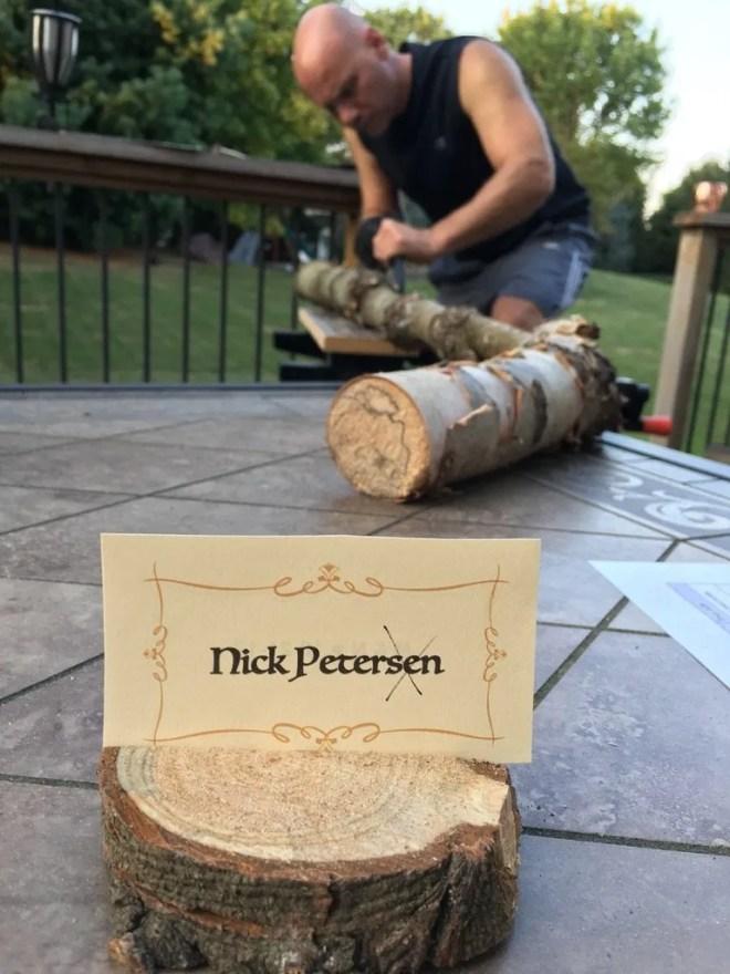 Cutting wood for wood burned Christmas ornaments.
