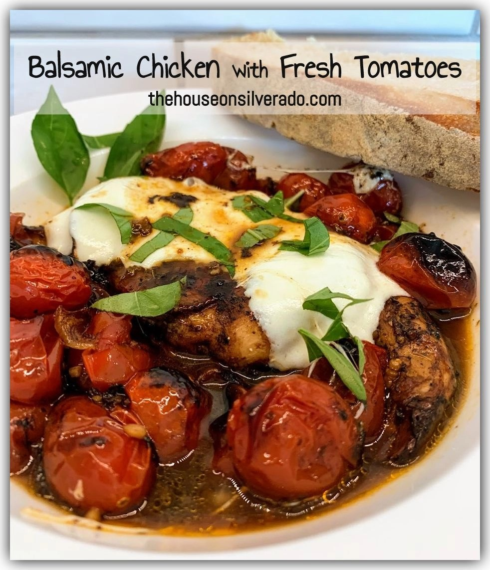 Balsamic Chicken with Fresh Tomatoes by The House On Silverado - Weekend Potluck 438