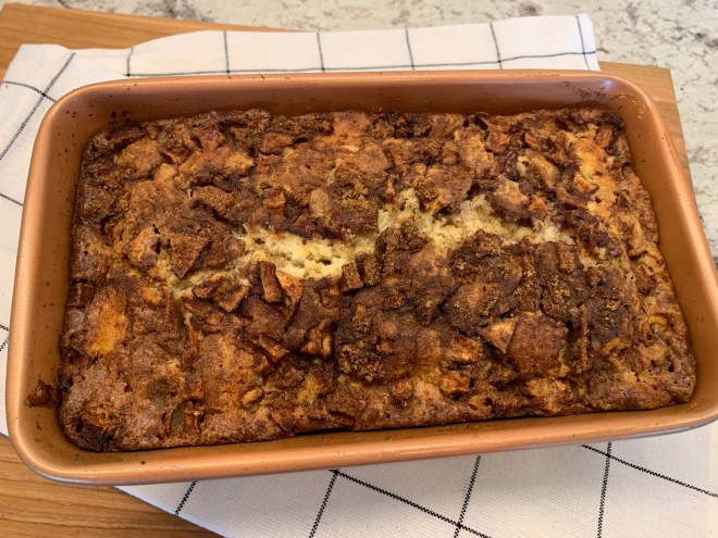Bake and cool Farmhouse Apple Fritter Bread with Cider Glaze