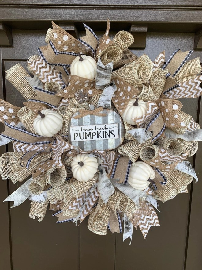DIY ribbon and burlap wreath for the door of my fall front porch