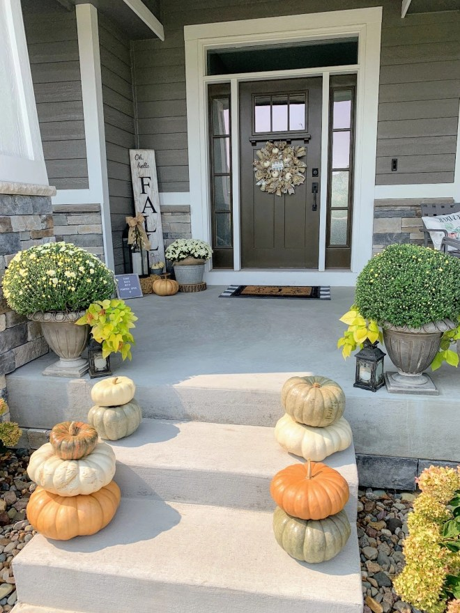 Heirloom pumpkins in greens and oranges for my Cozy Fall Front Porch
