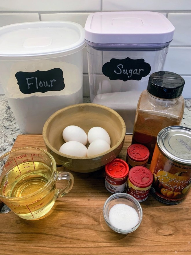 Ingredients needed for The Best Pumpkin Bread + 3 Toppings Options!
