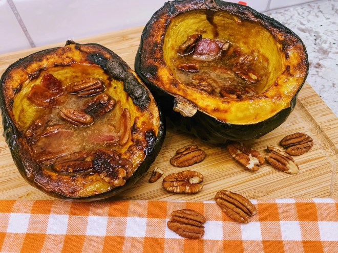 Return to oven and roast a bit more until edges of acorn squash are just barely charred.