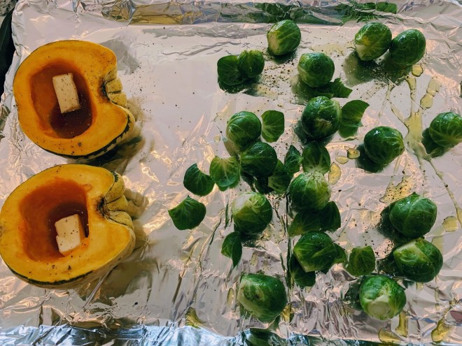 Roasting the veggies for Autumn Salad with Sweet Dumpling Squash