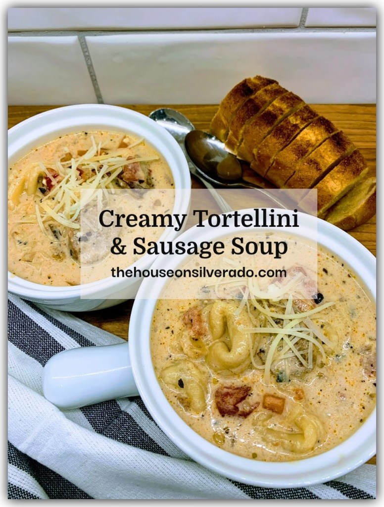 Slow Cooker Creamy Tortellini & Sausage Soup by The House on Silverado - WEEKEND POTLUCK 461
