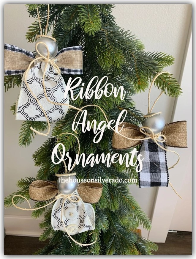 Silver Angel Gray Ribbon Charm Gift Tag Christmas Ornament