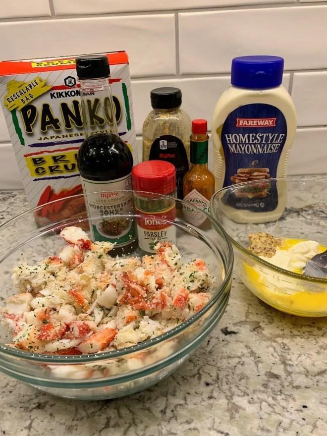 Ingredients for King Crab Cakes