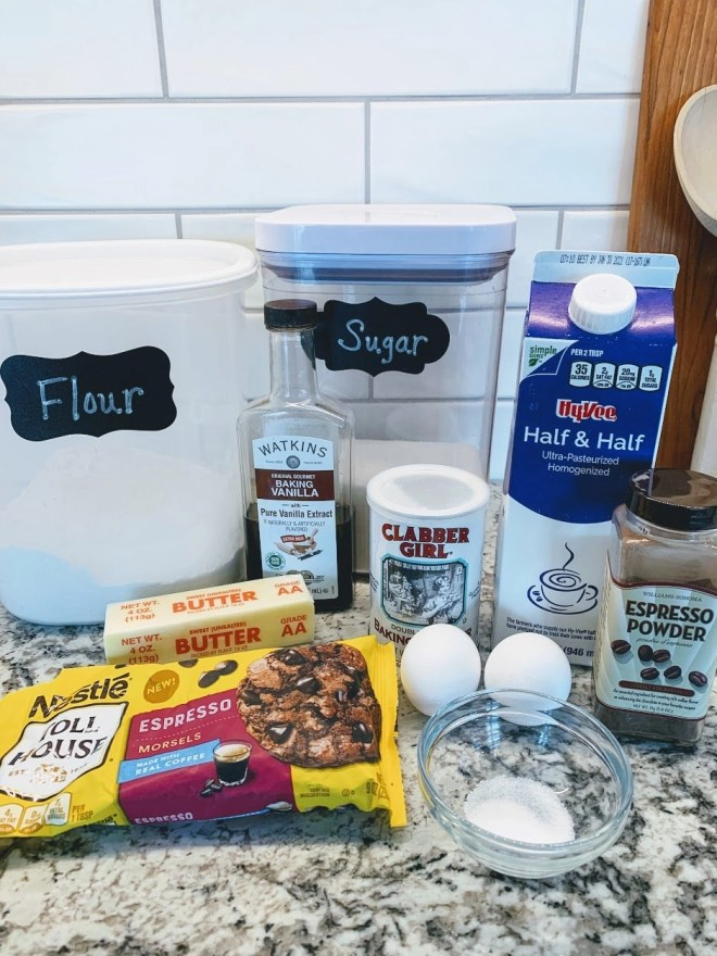 Ingredients for Chocolate Chip Espresso Scones with Espresso Glaze