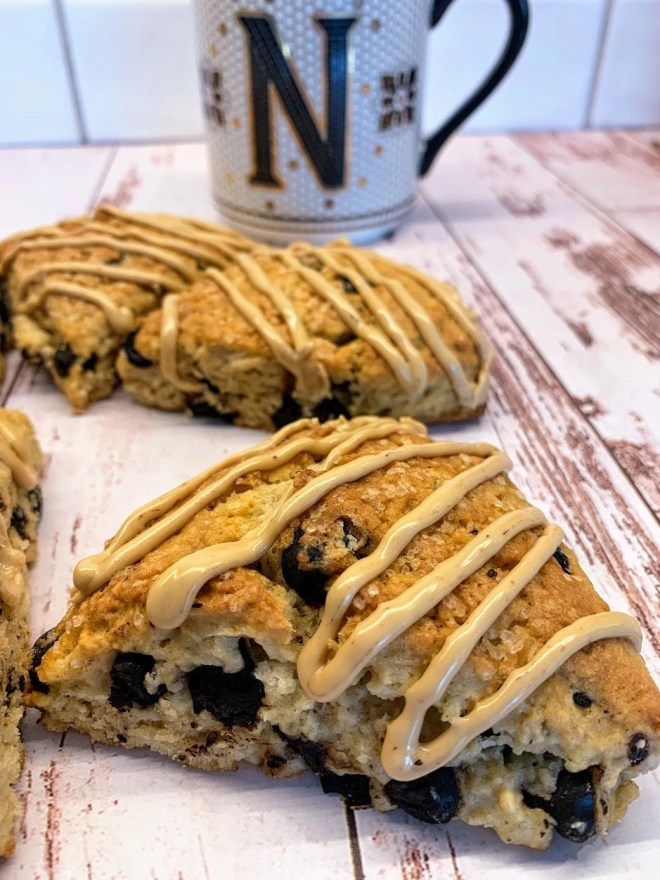 Serve scones with an espresso glaze drizzled over the top. Perfect wtih a cup of coffee or tea.