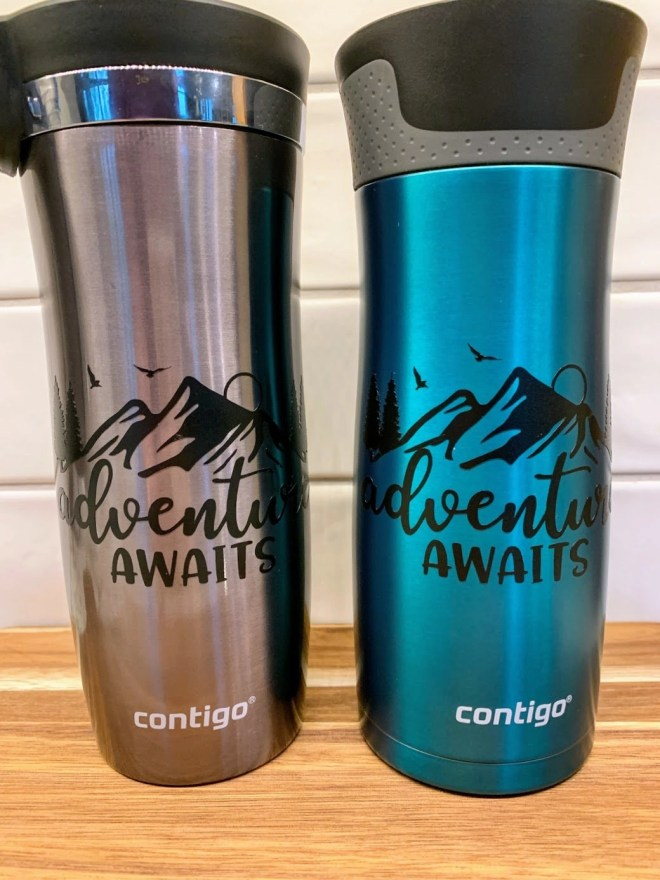 DIY Customized Travel Tumblers on Contigo mugs, personalized for our trip.