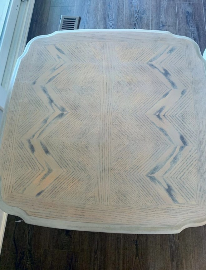 End Table Makeover with Milk Paint and Stain intricate pattern on top.