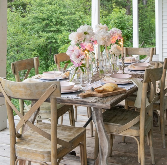 Summer Table with Glass Bottle Centerpiece from Sanctuary Home.