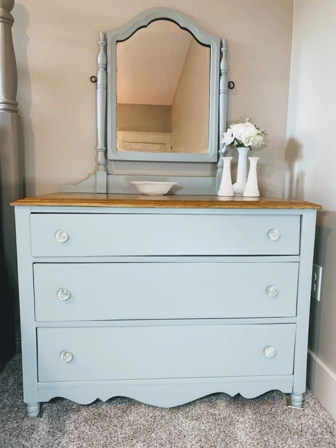 Guest Bedroom Makeover Using Family Keepsakes dresser