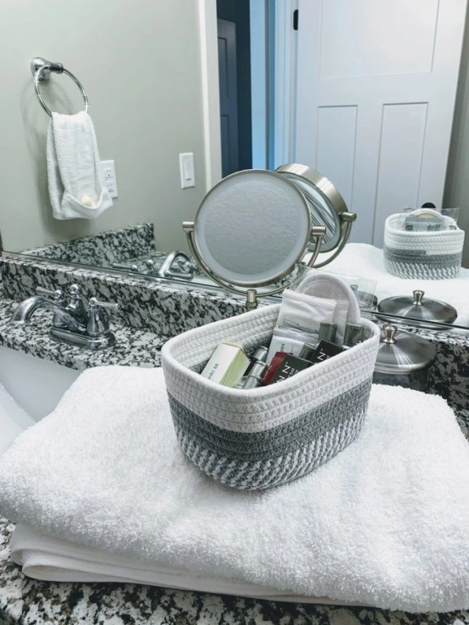 Towel from Elegant Strands for guest bathroom.