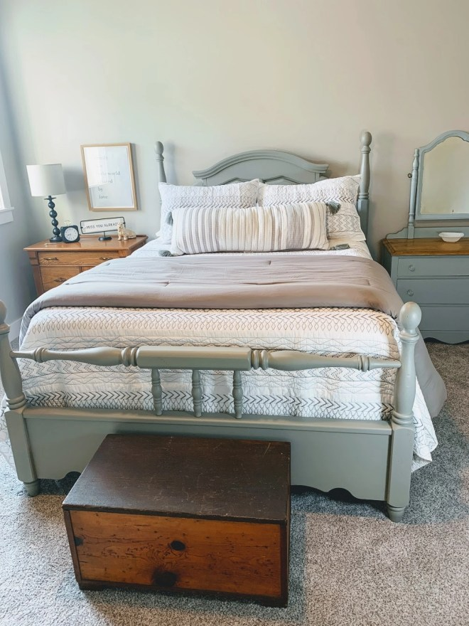 Antique Dresser Makeover with General Finishes Milk Paint in guest bedroom.