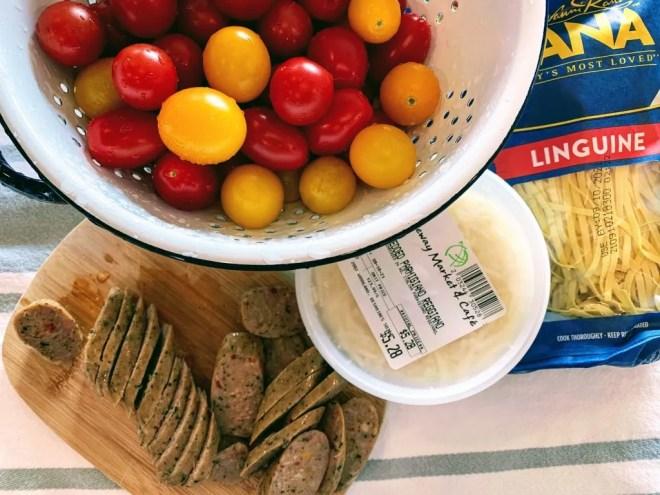 Ingredients for Garlic Butter & Tomato Pasta