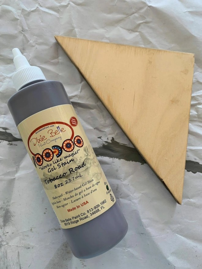 Staining the wood LeMoyne Star pieces in two different colors for the barn quilt.  Dixie Belle stain in Tobacco Road.