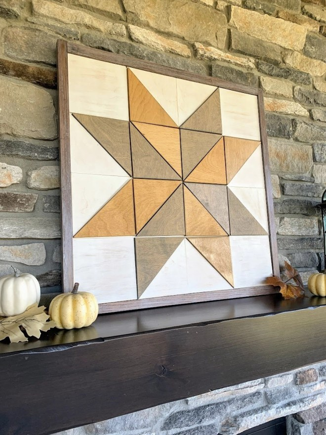 DIY Barn Quilt displayed on the mantel.  One color for the background and two colors for the star pattern.