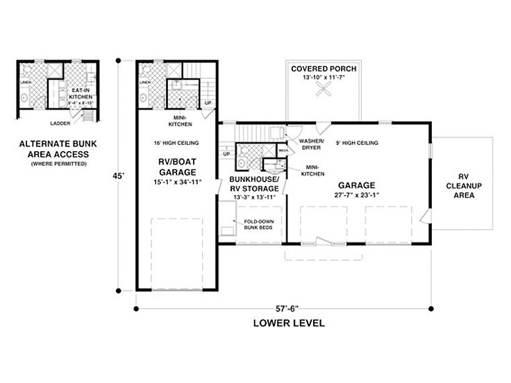 Carriage House Plan With RV Bay