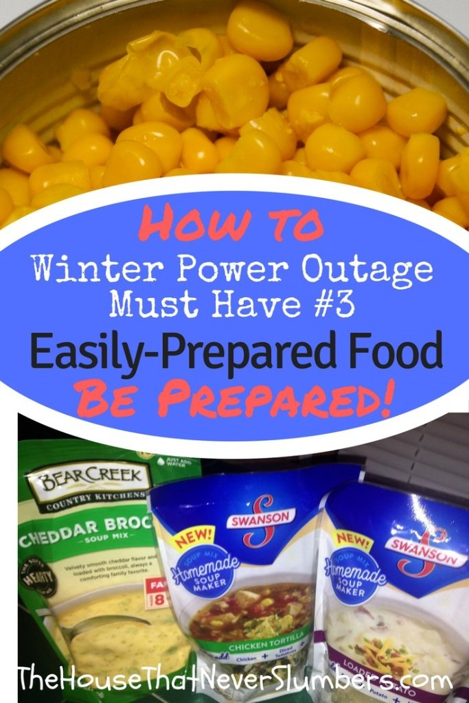 Winter Storm Preparedness - Easily-Prepared Power Outage Foods - We're still in the middle of winter, folks. I'm sure you'll want to pick up some of these convenient power outage foods on your next grocery trip. A power outage doesn't stop your family's need to eat. Meeting your food needs can be trickier during a power outage, but there are plenty of decent tasting food options that can be purchased for a reasonable price.