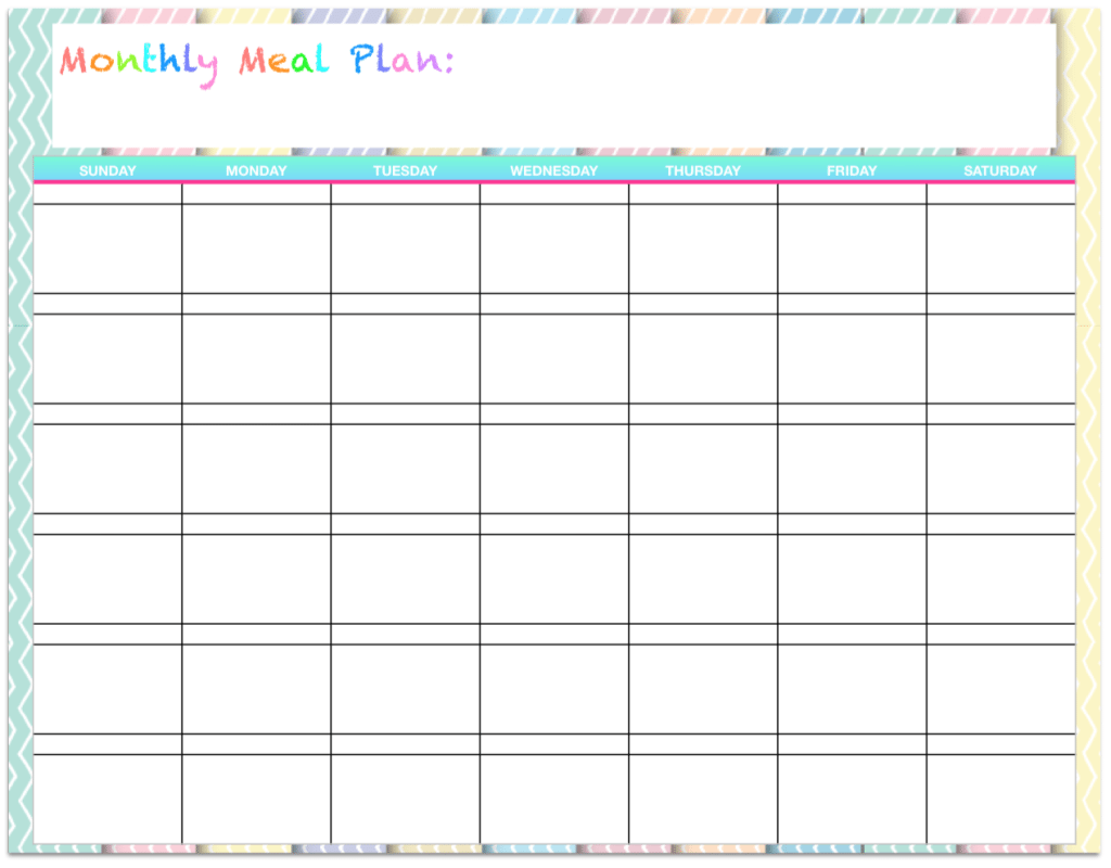 Free printable monthly meal planners. Plus links to a ton of other free printables!