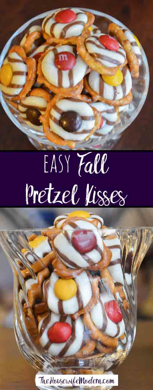 Easy Fall Pretzel Kisses. Ridiculously easy appetizer or snack, but looks fancy enough for a party. Salty & sweet, and delicious.