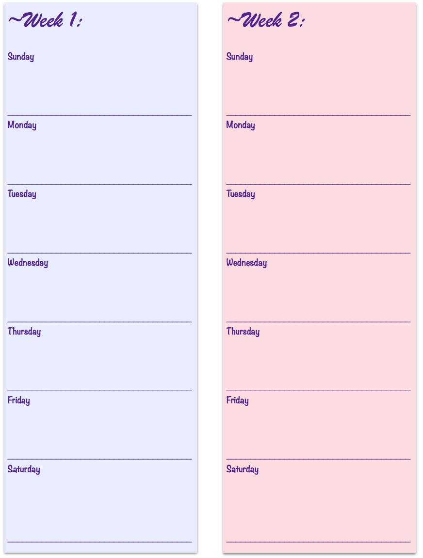 Free Printable 2-week Meal Planners. 3 different designs and links to TONS more free printables.