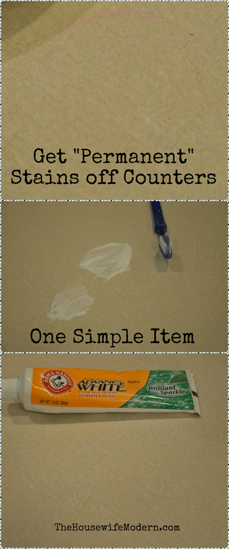 Get permanent stains off countertops with one simple item.