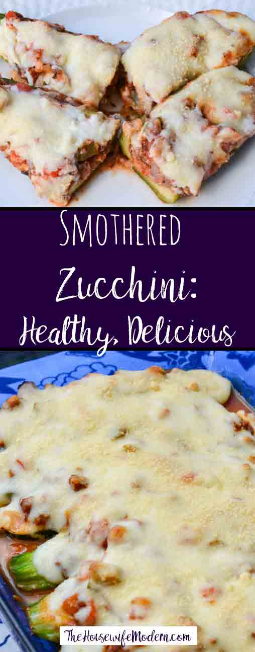 Smothered Zucchini: Delicious and Healthy. Zucchini smothered in sauce, vegetables, and Italian sausage, and topped with a creamy Parmesan cheese sauce.